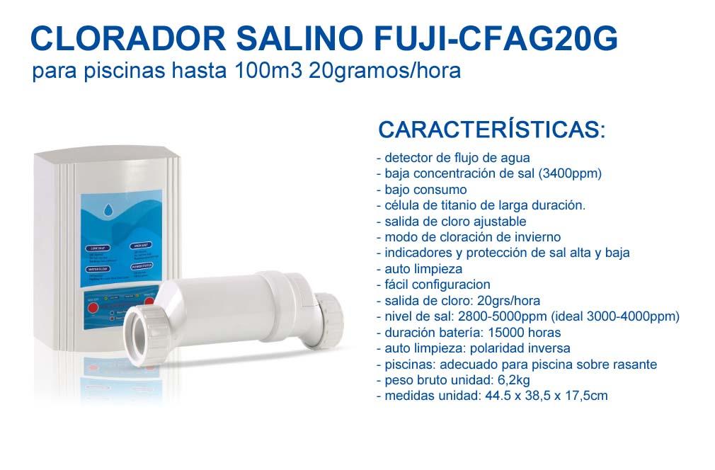 Clorador salino FUJI-CFAG20G para Piscinas hasta 100m3-20gramos/Hora…, FUJISOL