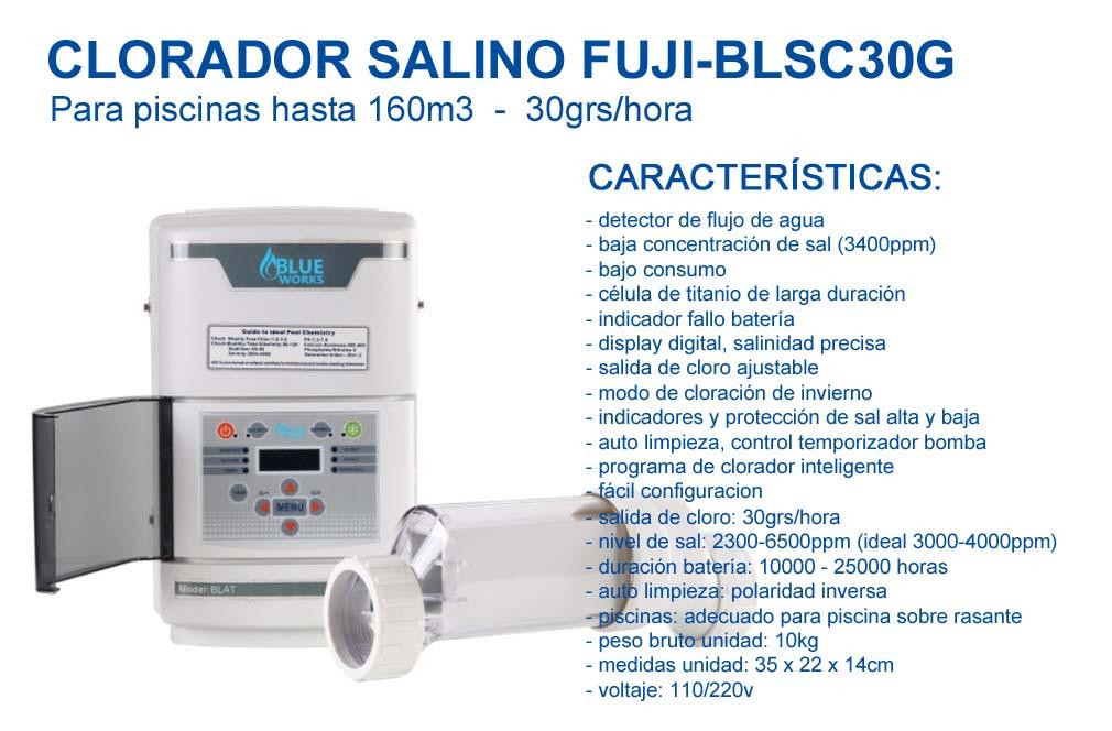 Clorador salino FUJI-BLSC30G para Piscinas hasta 160m3-30gramos/Hora, FUJISOL