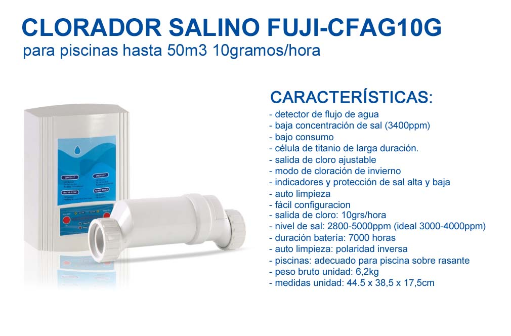 Clorador salino FUJI-CFAG10G para Piscinas hasta 50m3-10gramos/Hora, FUJISOL