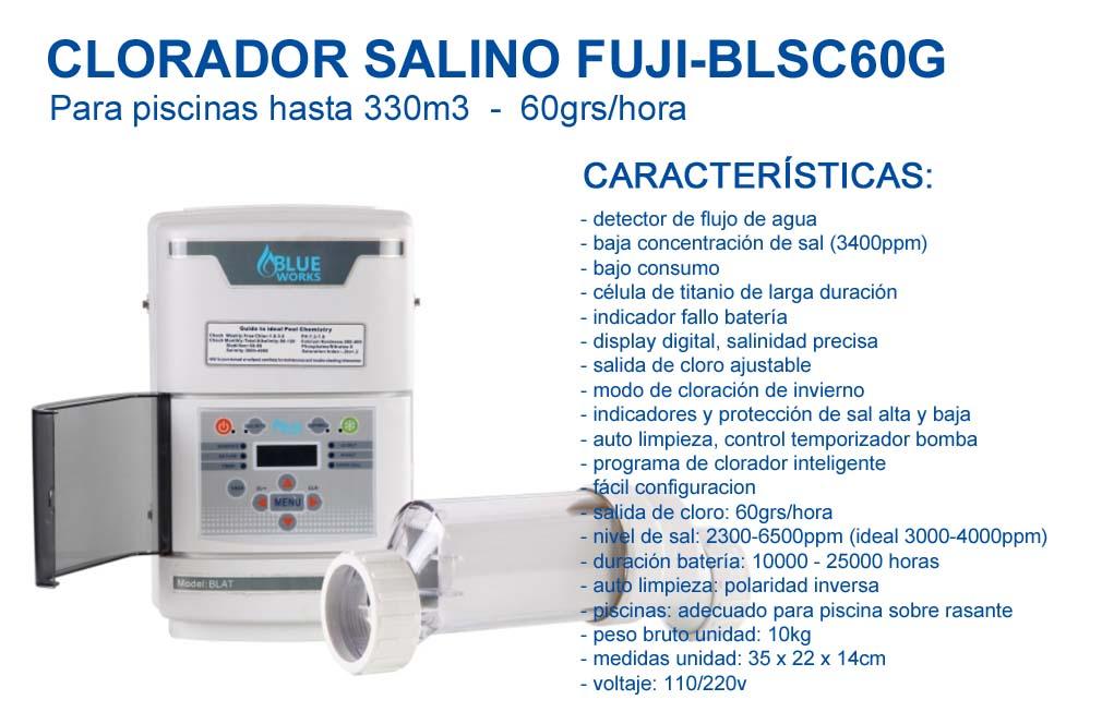 Clorador salino FUJI-BLSC60G para Piscinas hasta 330m3-60grs/Hora…, FUJISOL